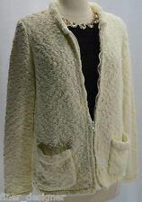 VTG Kintamani Wind River Bouncle Textured weave zip Cardigan Sweater Coat MED M