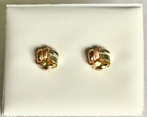 NEW 9ct MULTI-COLOUR FROSTED GOLD KNOT EARRINGS