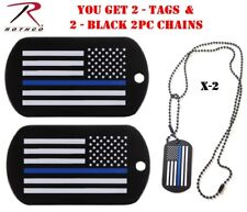 2-2pc Black Chains Tbl Support Dog Tags 8513 2 - Thin Blue Line Dog Tags &