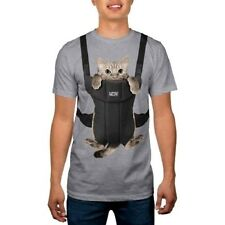 Men's Funny Kitty Cat Baby Carrier MEOW XL T-Shirt Tee Comical Humor COSTUME Top