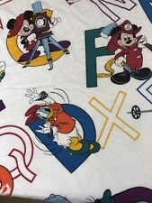 Vintage Walt Disney Mickey Mouse Fitted Twin Sheet Alphabet Print Donald Duck
