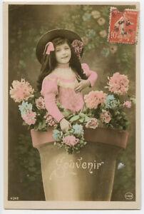 c 1910 Child Children DARLING LITTLE GIRL Fantasy French photo postcard