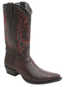 Los Altos Authentic Ostrich Skin Leather Snip Toe Burgundy Western Boots