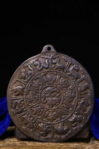 old Tibet Buddhism Copper body Handmade Carving Zodiac sign Magic instrument