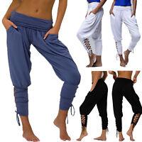 Women Plain Casual Trousers Long Elasticated Pant Holiday Beach Wide Leg Palazzo