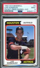 1992 SCD Price Guides Insert #3 LUIS GONZALES Houston Astros PSA 9 MINT Pop 1