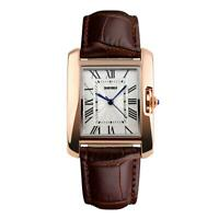 Skmei Women's Watch Square Rose Gold Roman Numerals Genuine Leather Strap Brown