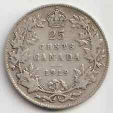 1919 Canada 25 Cents Quarter Dollar Silver Coin - King George V