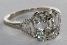 Platinum Asscher Cut 3.60 Carat GIA Certified Diamond Engagement Ring