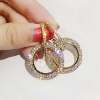 Fashion Round Hoop Earrings Women Gold Silver Crystal Rhinestone Earrings Gifts