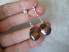 Baroque Cultured Pearl stud dangle earrings, 1.5 grams of 925 Sterling Silver