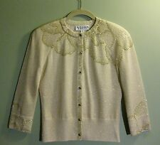 ST JOHN EVENING Embellishment Crystal Stone Button Sweater P/S/6
