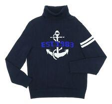 Vintage NAUTICA Sweater USA S Small Mens ANCHOR Nautical TURTLENECK Navy Blue