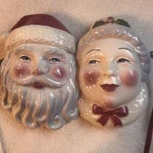 Clay Art Mask-Santa And Mrs. Claus-Vintage 1990's Wall Hanging