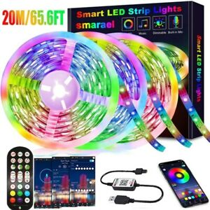 LED Strip Lights Music Sync Bluetooth App Control 10M Full Kit Remote For Room