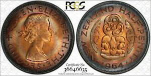 1962 NEW ZEALAND HALF PENNY PCGS MS64RB RAINBOW COLOR TONED COIN! MUST SEE!