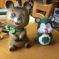 Set of 2 ADORABLE Vintage Teddy Bears Chalkware Piggy Banks
