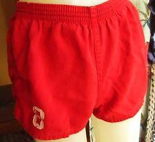 Small 24w True Vtg 70s Red All Cotton Elastic Waist Womens Gym Class Shorts