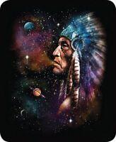 Queen Galaxy Man Native American Indian Space Faux Fur Blanket Super Soft Plush