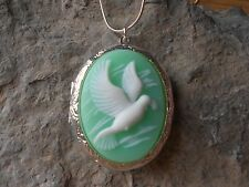 (LOCKET)-- FLYING DOVE CAMEO NECKLACE LOCKET!!! MINT GREEN, WEDDING, VALENTINE'S