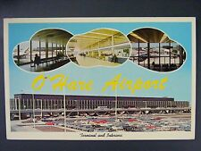 O'Hare Airport Terminal Interior Chicago Illinois Vtg Curt Teich Postcard 1962