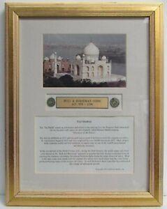 AD 978 - 1298 BULL & HORSEMAN SHAH DYNASTY INDIA / TAJ MAHAL 2 COINS FRAMED COA