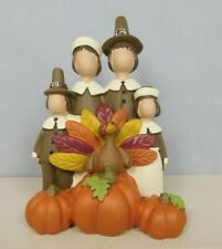 Small Pilgrim family with turkey and pumpkins - New by Blossom Bucket #12423