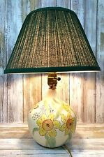 Vintage 1960's Hand Painted Pottery Table Lamp Sunflowers & Butterflies