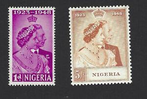 NIGERIA 1948 GEORGE VI, ROYAL SILVER WEDDING SET OF 2 STAMPS, SG. 62-63, MH
