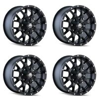 "Set 4 20"" Mayhem Warrior 8015 Black Wheels 20x9 8x6.5 8x170 0mm Ford Ram 8 Lug"