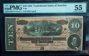 1864 $10 Confederate States of America T-68 AU55 PMG Certified, No Folds
