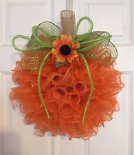 "17"" Handmade Fall Deco Mesh Orange Pumpkin Wreath With Sunflower"