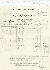 Dépt 12 - Millau - Ganterie Très Grosse Facture pour 1 600 kg de Peau de 1881