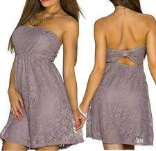SeXy Miss Spitze Mini Kleid Party Bandeau Dress Freesize 34/36/38 braun NEU