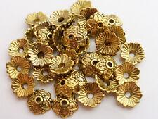 50 x Antique Gold Tibetan Style Bead Caps Endbeads 8mm LF, Craft Supplies