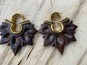 PAIR TRIBAL 4g (5mm)  BRASS & SONO WOOD EAR WEIGHTS PLUGS STRETCH GAUGE PLUG