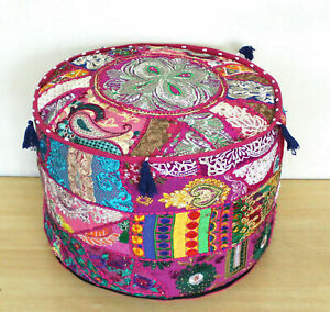 Embroidered ottoman puff cover Pink Vintage cotton patch work footstool cover