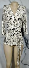 BANANA REPUBLIC ISSA LONDON COLLECTION Beige Multicolor Print Cocoon Top Large