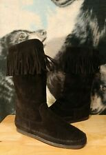 MINNETONKA Black Suede Fringed Mid Calf Moccasin Boots Womens Sz 9