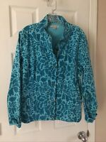 Coldwater Creek Womens Large Blue Floral Snap Full Zip Front Jacket Blazer Coat