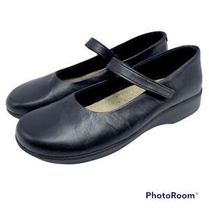 A'rcopedico Women's 38 Black Leather Mary Jane Comfort Flat Hook & Loop Strap