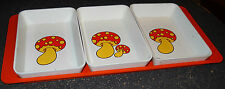 Mushroom Serving Platter Tray Mid-Century Modern Plastic 3 Compartments Vintage