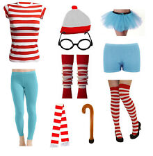 FANCY DRESS COSTUME RED WHITE STRIPED OUTFIT HOT PANTS PARTY ACCESSORY HEN STAG