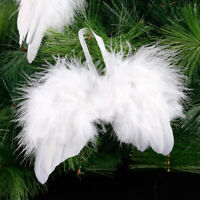 Shruti Fluffy White Feather Angel Wings Hanging Christmas Tree Decoration 53660