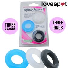 NEW 3 Pack/Set Silicone Rings Cock/Penis Multi Coloured - Super Stretchy!