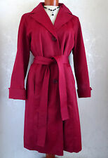 "WOMEN'S COAT, M, CHERRY RED RAINCOAT, ELLEN TRACY, Bust 39""/ 99 cm LINED TRENCH"