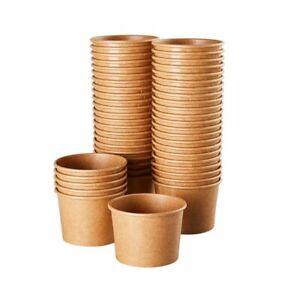 Ice Cream Sundae Cups - 100-Piece Disposable Kraft Paper Dessert Ice Cream Bowls
