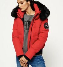 Superdry Red Ella  Bomber Jacket *Like Canada Goose* Size Small Black Fur RARE