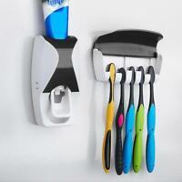 Distributeur automatique de dentifrice à fixation murale + 5 porte-brosses à