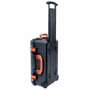 Black & Orange Pelican 1510 case no foam - Empty. With wheels.